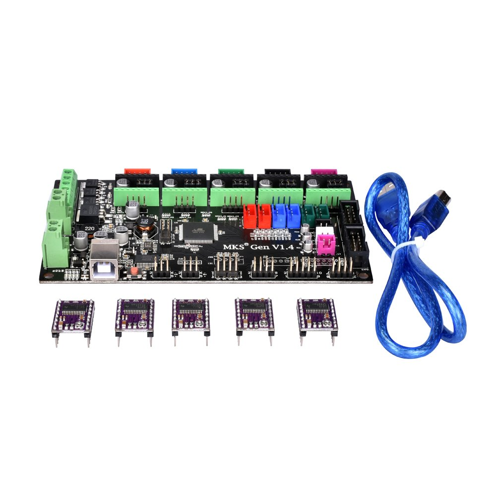 PoPprint MKS-Gen V1.4 Controller Board Integrated Ramps 1.4 and Mega 2560 Mainboard with DRV8825 Stepper Motor Drive with Cable Line for 3D Printer
