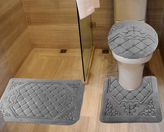 Plush Rug and Lid 3 Pc Bath Set