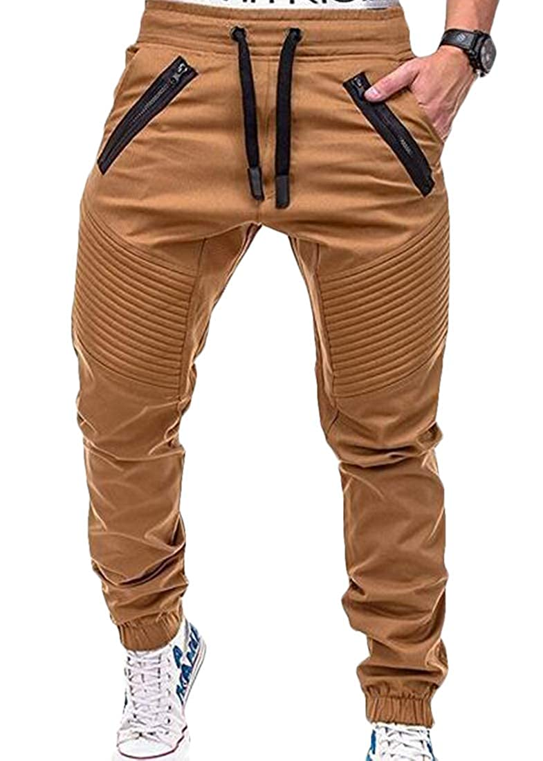 SELX Men Exercise Stitching Sport Zip Pleated Casual Pants