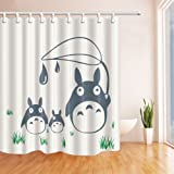 AMNYSF Cartoon Totoro Decor White Shower Curtain70x70 Inches Waterproof Mildew Resistant Polyester Fabric Bathroom