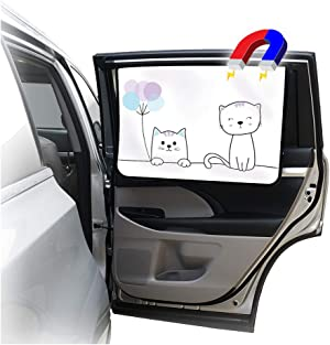 ggomaART Car Side Window Sun Shade - Universal Reversible Magnetic Curtain for Baby and Kids with Sun Protection Block Damage from Direct Bright Sunlight, and Heat - 1 Piece of Cat