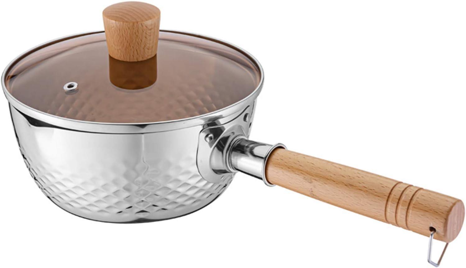 Stainless Steel Saucepan Milk Sauce Pan with Glass Lid and Oil Drip Rack,Deep Type Yukihira Saucepan,2.2 Quart (20cm / 7.8inch / 2.2 Quart)