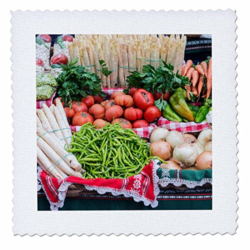 3dRose Danita Delimont - Markets - Spain, San Sebastian, Vegetables at the Farmers Market - 22x22 inch quilt square (qs_257872_9) by 3dRose