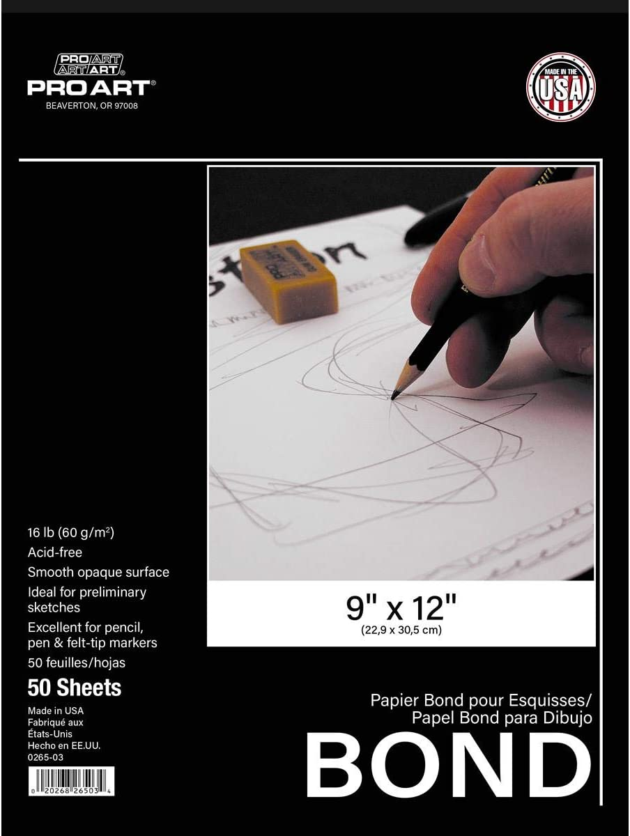 Pro Art 9-Inch by 12-Inch Bond Paper Pad