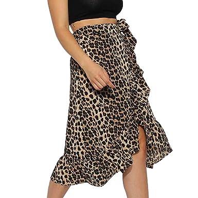 f4820268f iYYVV Womens Ladies High Waist Bow Ruffle Hem Leopard Wrap Midi Skirt