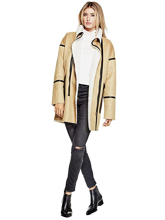 GUESS Acantha Faux-Shearling Coat CurryMilk S