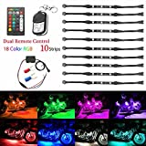 Motorcycle Lights, AMBOTHER 10 Pcs Car Atmosphere Ground Effect Lights Multi-Color Dual IR/RF Remote Accent Neon Glow Flexible Led Strip Light Kit for Harley Honda Kawasaki Suzuki BMW