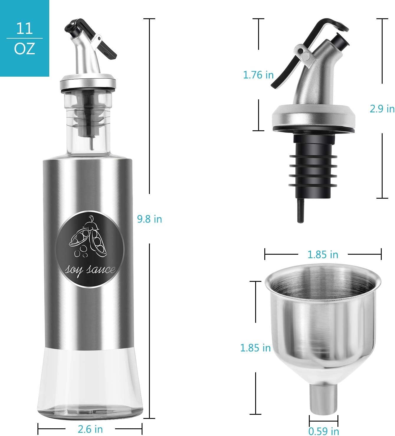 Neptonion Stainless Steel Olive Oil Dispenser set Bottle Glass Vinegar and Sauce Cruet - 11oz Sauce Cruet Pourer Dispensing (Funnel included)(3 Packs): Kitchen & Dining
