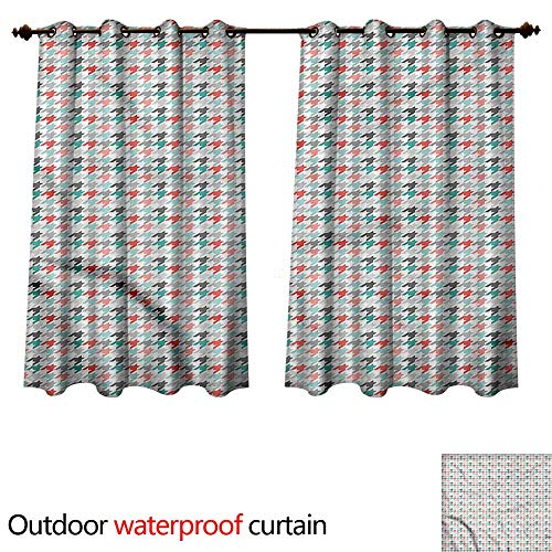 (cobeDecor Abstract Outdoor Curtains for Patio Sheer Houndstooth Motifs W108 x L72(274cm x 183cm))