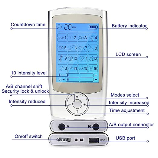 Tens Masajeador Electroestimulador con 16 Modos, 6 electrodos y canales A/B para el manejo y tratamiento del dolor (espalda, cuello, hombros, ...