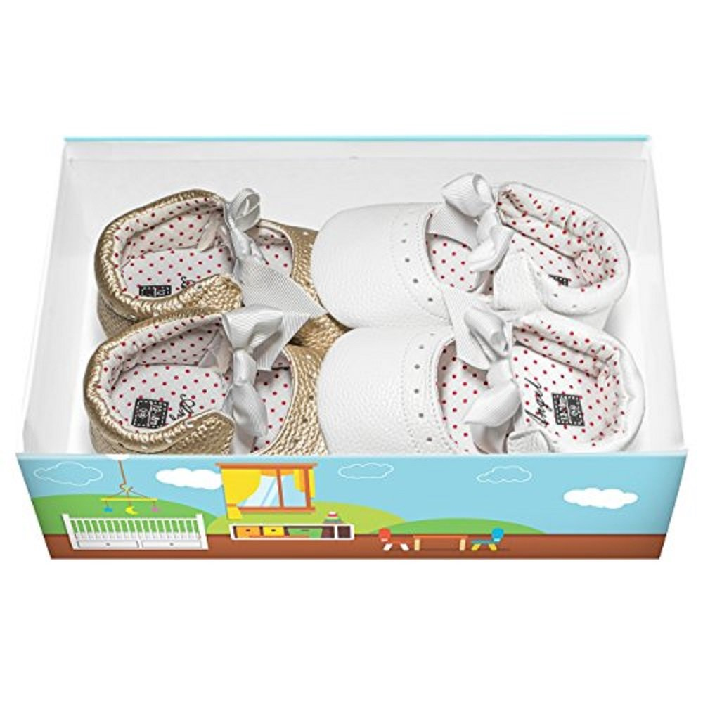 Colourbox 2-Pairs Soft Leather Baby Girl White and Gold Shoes