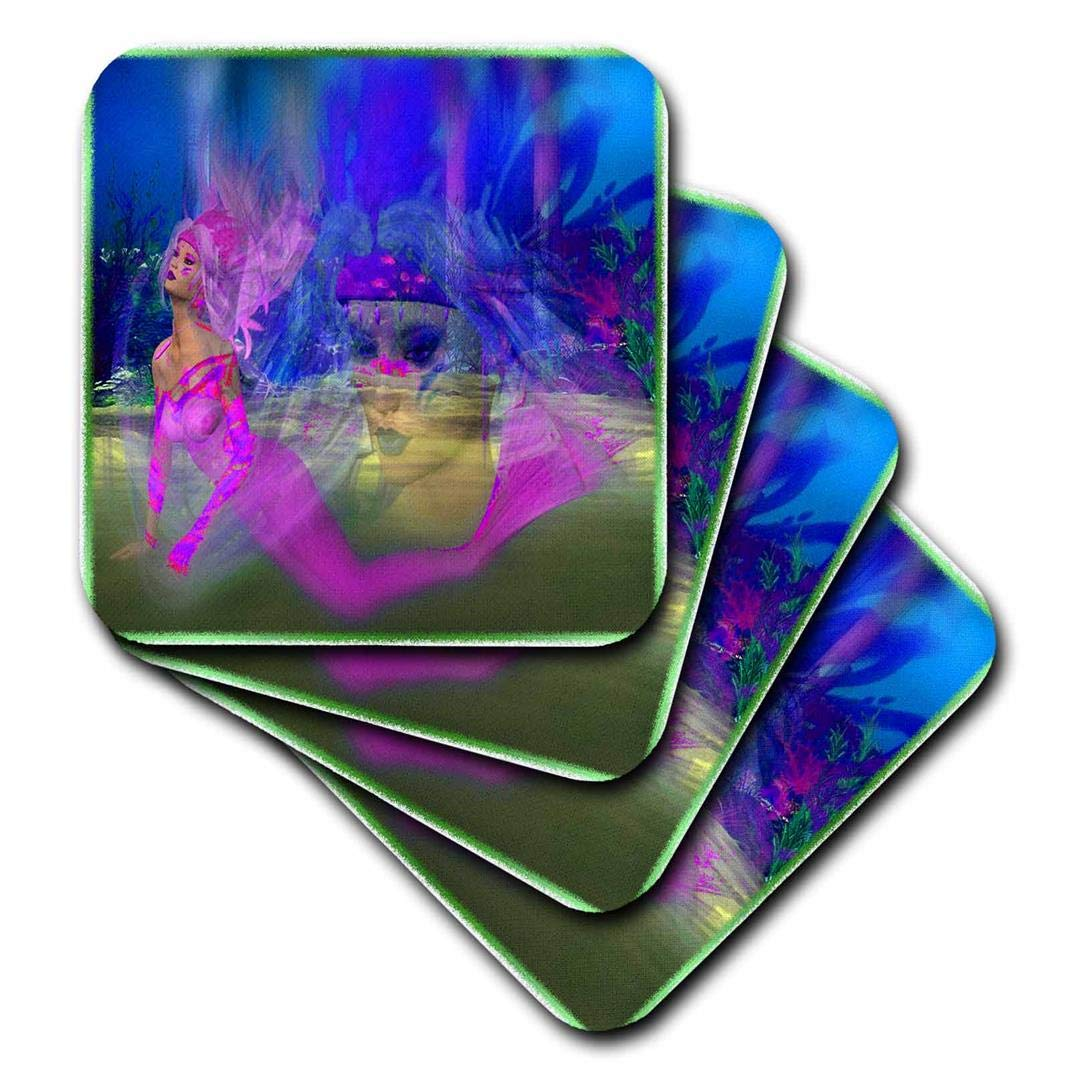 CST/_108164/_1 Soft Coasters Set of 4 3dRose Mermaid Fantasy