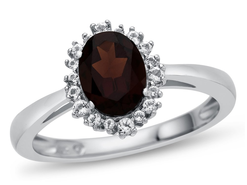 Finejewelers 10k White Gold 8x6mm Oval Garnet with White Topaz accent stones Halo Ring Size 4.5