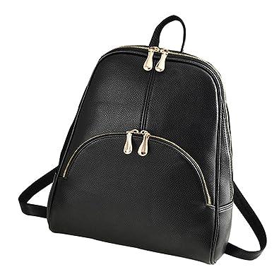 Women Backpack Soft Solid Faux Leather Rucksack Backpacks Satchel Shoulder  Bags Daypack (Black) dee13a4c5b