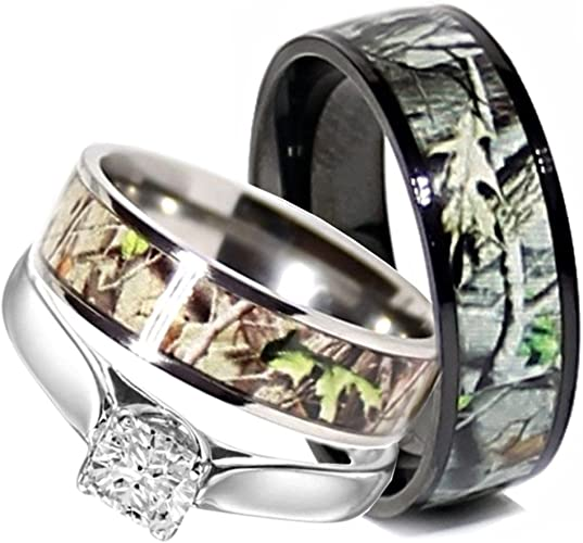 Amazon Com Camo Wedding Rings Set His And Hers 3 Rings Set