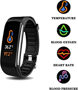 Smart Watch, Fitness Tracker with Body Temperature Thermometer Blood Oxygen Heart Rate Blood Pressure Monitor Sleep Monitor Step Counter Pedometer Calorie Counter IP67 Waterproof for Women Men Kids