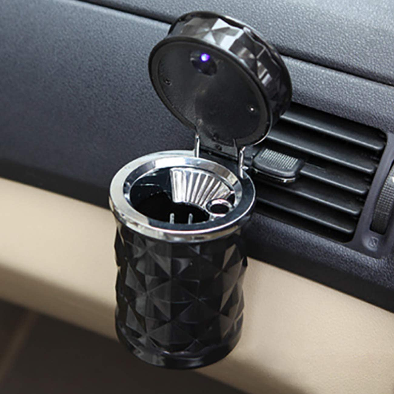 2 Pieces Car Ashtray with Lid Blue LED Light Easy Clean up Detachable Stainless Car Ashtray Portable for Most Car Cup Holder Home Office and Travel