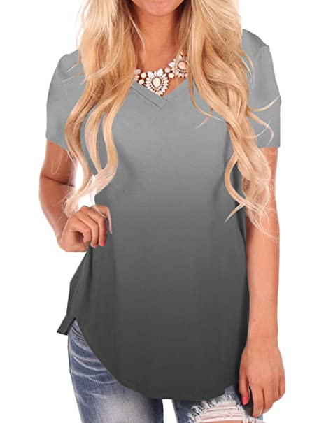 92dcf1cc7ada Women's V Neck Short Sleeve Comfy Color Gradient T-Shirt Tops Grey M at  Amazon Women's Clothing store: