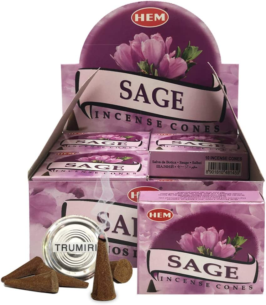 Sage Incense Cones And Cone Incense Burner Bundle Insence Insense Inscents Insienso