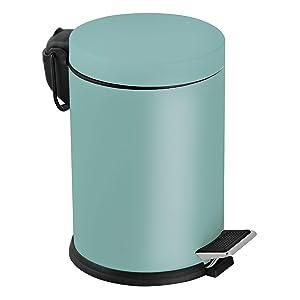 Foreca, Mint Rengi, Kapaklı, Pedallı Çöp Kovası,Hızlı Kargo, Banyo ve Ofis için ideal, Paslanmaz Metal (5 Litre, Mint)