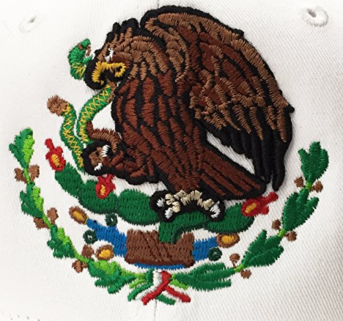 550374ce19184d Yupoong Mexico Snapback Hats Embroidered Shield and Flag (White/Full Color)