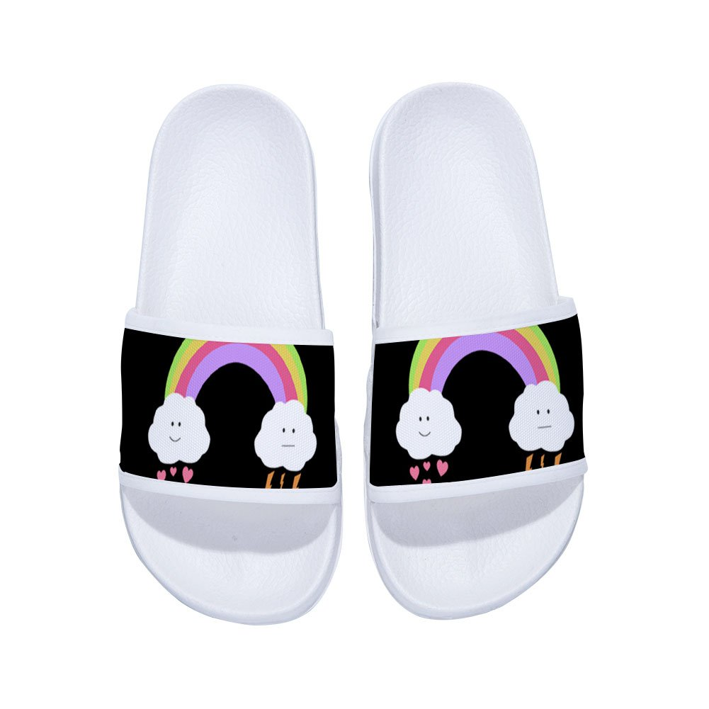 Little Kid//Big Kid Feisette Slides Sandals for Boys Girls Rainbow Anti-Slip Shower Pool Beach Slippers