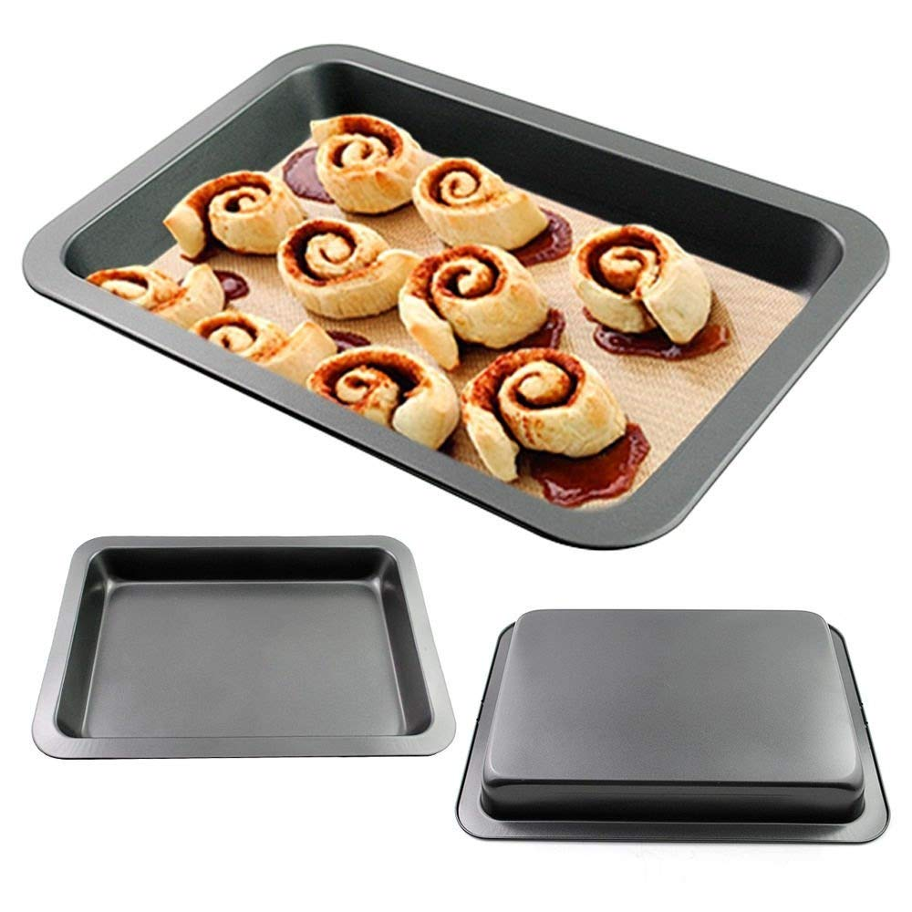 1pcs Jelly Roll Pans Bakeware Stainless Steel Baking Pan Bakeware Non-stick Sheet Tray Rectangular Jelly Roll Pan 14.7x10.6x1.7inch