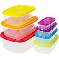 Saim Set Of 7 Rectangle Plastic Food Storage Containers Kitchen Lunch Food Saver Boxes, Sets Of Bowls With Colorful Lids