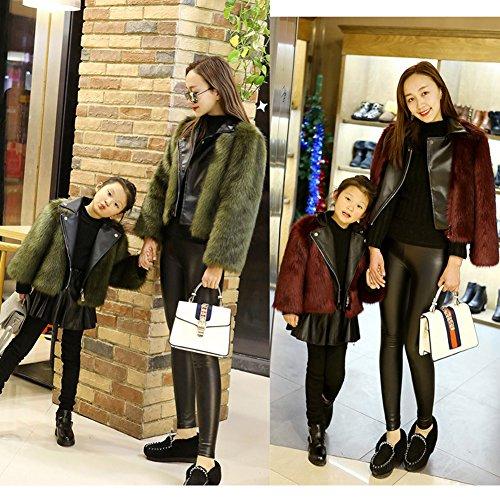 Baby maman chaud veste faux vtements costumes fourrure famille hiver et manteau girl FOLOBE Darkgreen gq4xftwa