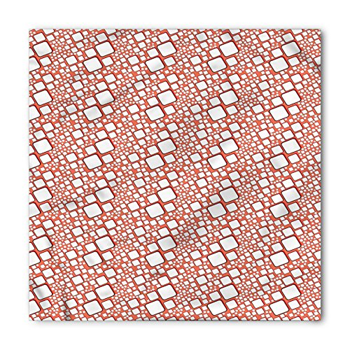 Abstract Bandana by Ambesonne, Ornamental Squares with Oval Corners in Various Shapes Geometric Pattern, Printed Unisex Bandana Head and Neck Tie Scarf Headband, 22 X 22 Inches, Dark Salmon White