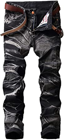 AITITIA Mens Biker Zipper Deco Washed Straight Fit Jeans