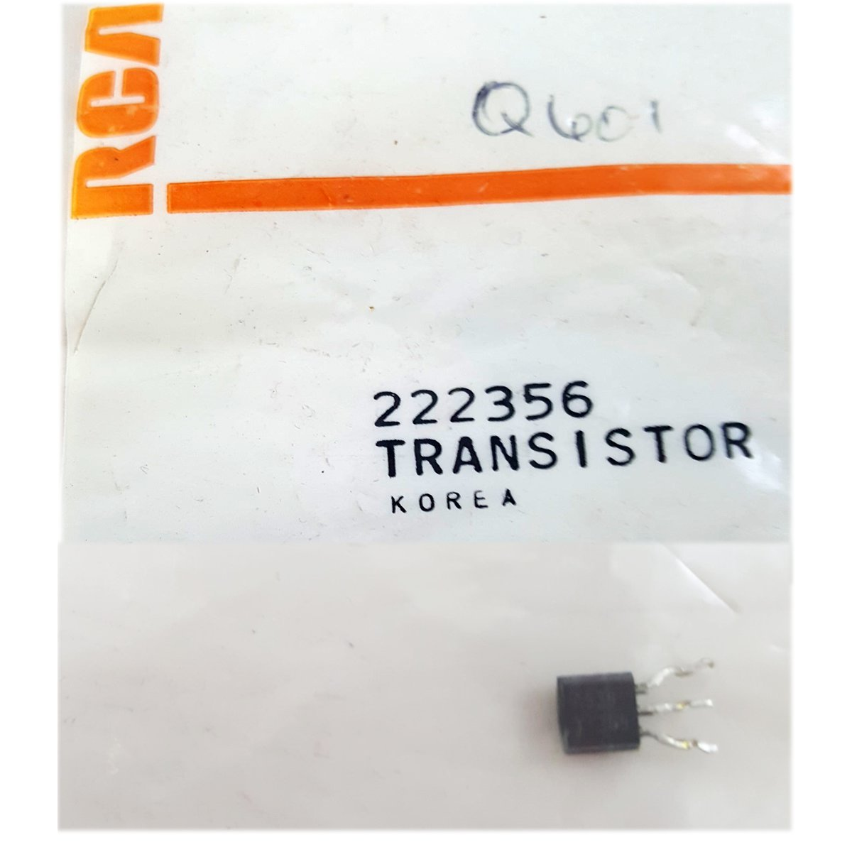 RCA VCR Replacement Transistor Part No. 222356