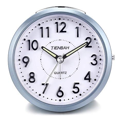 Yadelai Despertador Analógico de Viaje,Silencioso Reloj de Alarma de Activación con Pilas Simple para Niños, Función de Despertador y Funciones de luz ...
