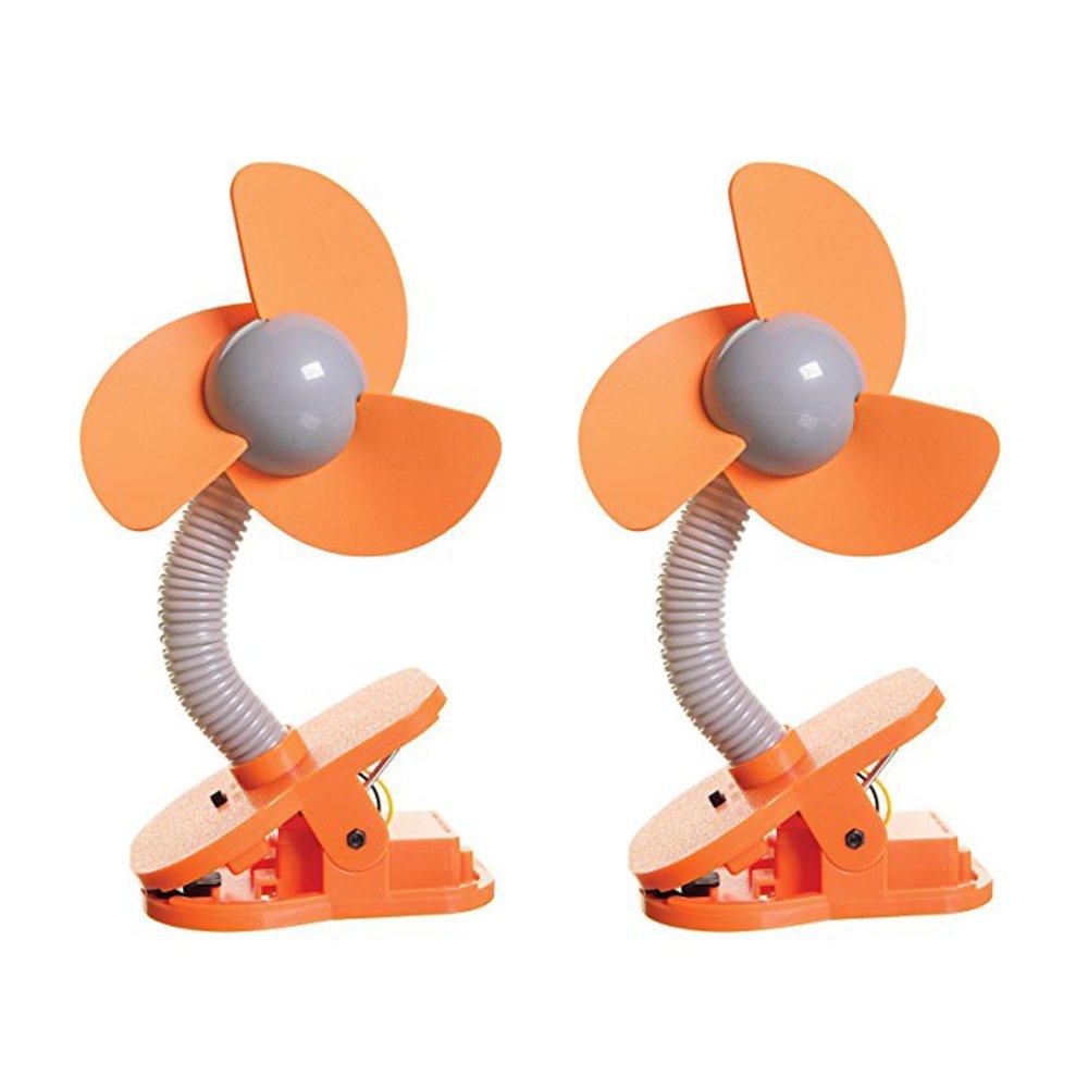 Dreambaby Clip-On Stroller Fan Pack of 2 Orange//Silver
