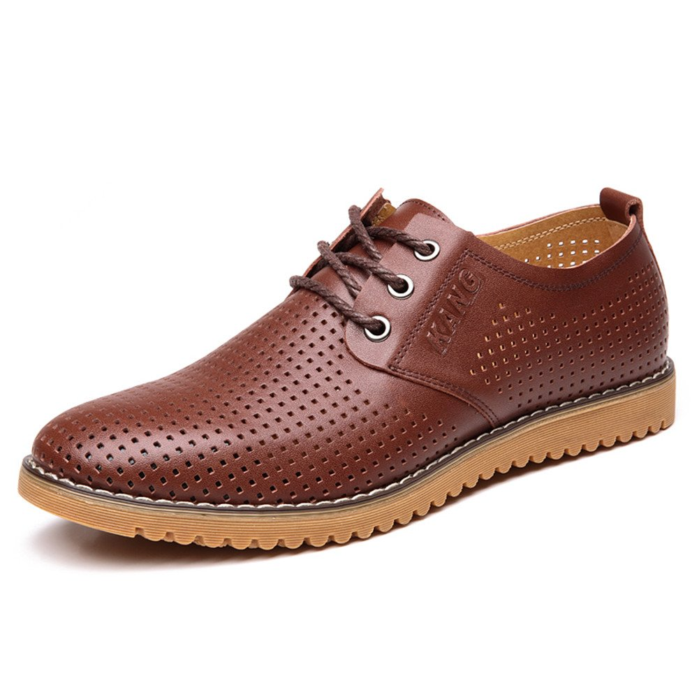 ChicWind Men's Breathable Leather Casual Shoes Lace up Oxfords Dress Shoes Brown