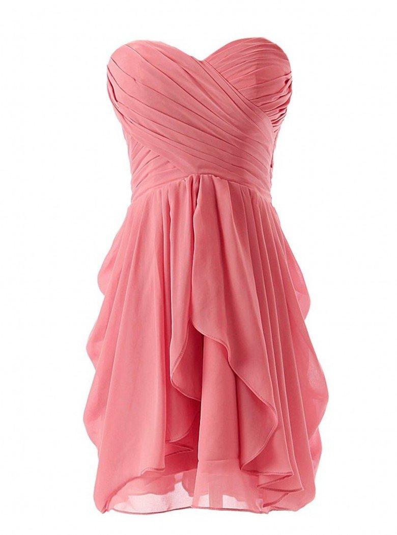 Anna's Bridal Women's Simple Pleat Chiffon Coral Bridesmaid Dresses Short US12