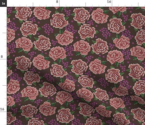 Vintage Cross Stitch Roses Fabric - X Faux Embroidery Pink Floral Flower Brown Stich Rose Leaf Print on Fabric by The Yard - Basketweave Cotton Canvas for Upholstery Home Decor - Cross Vintage Rose Stitch