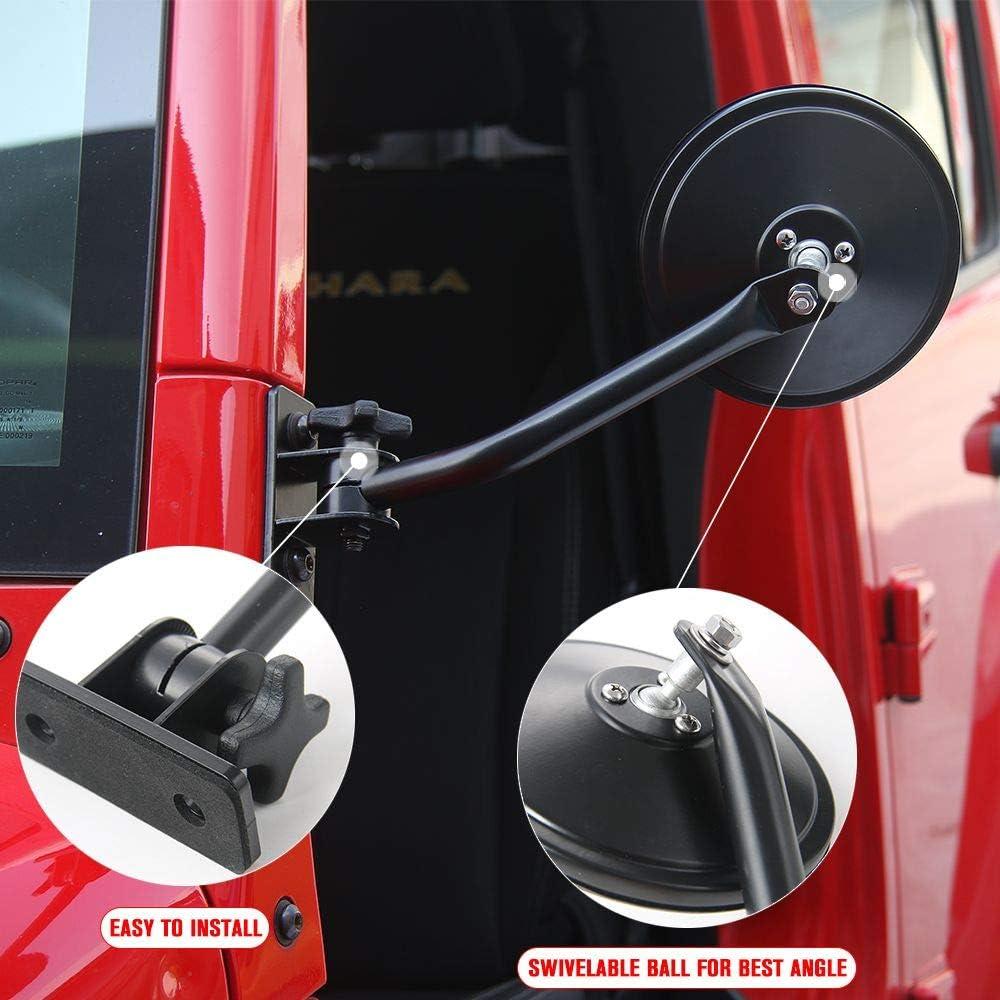 1 Pair JeCar Doors Off Mirrors Quick Release Mirrors Exterior Accessories for Jeep Wrangler 1997-2006 TJ LJ /& 2007-2018 JK JKU Textured Black