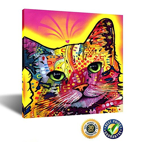 Kreative Arts - Abstract Cat Canvas Wall Art,Colorful Pet Pop Art Prints, Framed Canvas Print Ready to Hang 24''x24'' (Pop Art Pet)