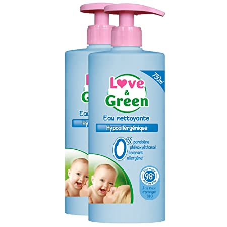 Love & Green - Eau Nettoyante Hypoallergénique 750 ml - Lot de 2