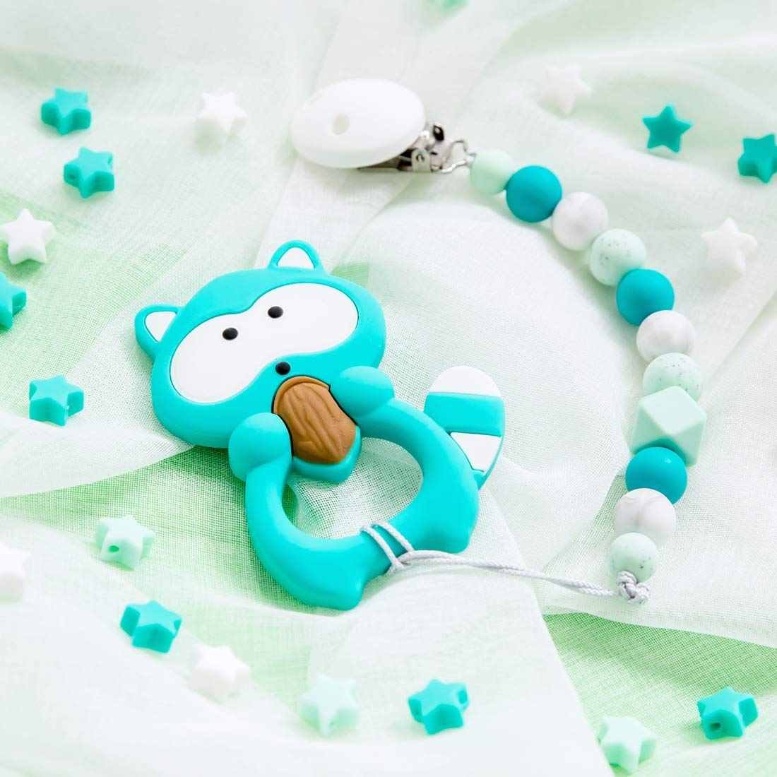 Mamimami Home Baby Silikon Waschb/är BPA Frei Bei/ßring Schnuller Kette Halter Silikon Dummy Clip kaubare Perlen Kinderkrankheiten Spielzeug Dusche Geschenk