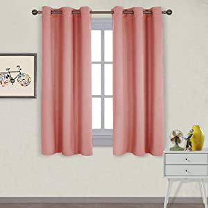 NICETOWN Triple Weave Microfiber Home Thermal Insulated Solid Ring Top Blackout Curtains/Drapes for Bedroom(Coral, Set of 2, 42 x 63 Inch)
