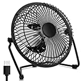 WoneNice 6 Inch Mini USB Fans, Portable Metal Desk Fan, Quiet and Cooling Fan for Office Home School and Camping, 360 Rotation, Black