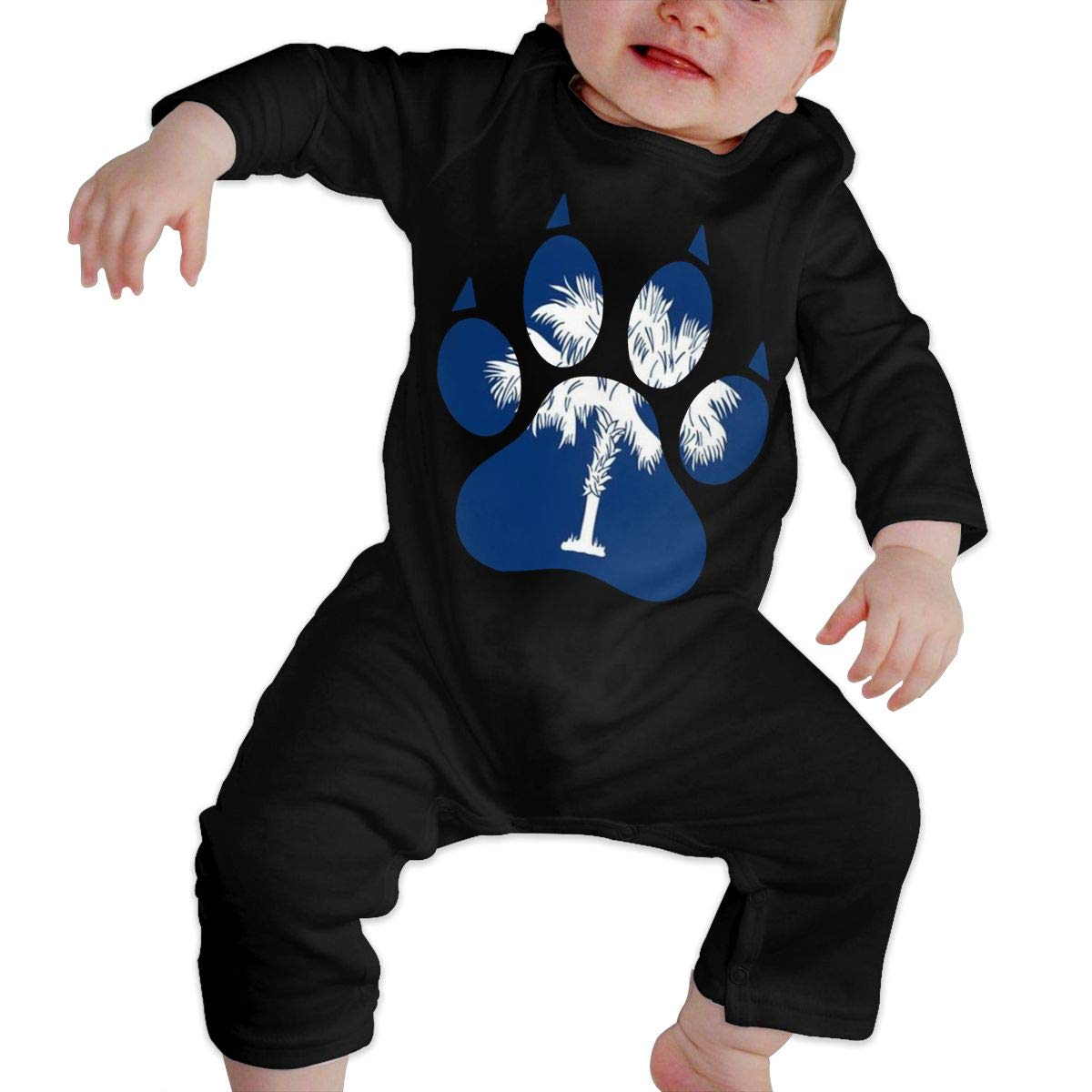 Fashion South Carolina Dog Paw Jumpsuit Long Sleeve Cotton Rompers for Baby Boys and Girls