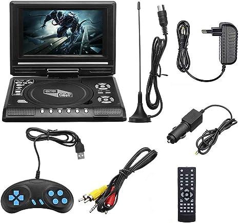 7.8 Pulgadas Portátil HD TV Inicio Coches Reproductor De DVD, VCD CD MP3 USB DVD Tarjetas SD TV RCA Cable Portatil Juego 16: 9 Pantalla LCD Girar: Amazon.es: Deportes y aire libre