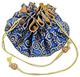 Silk & Cotton Drawstring Jewelry Pouch, Cobalt Blue with Gold Swirls