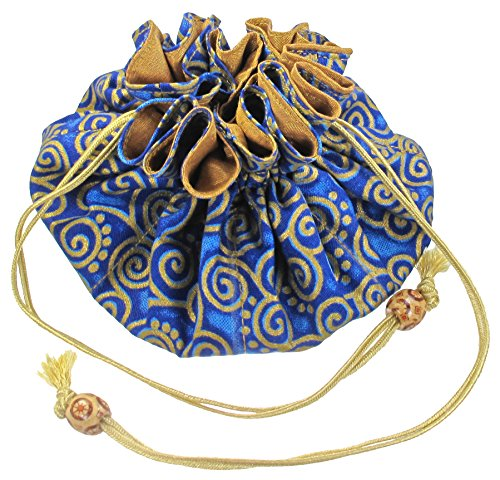 Silk & Cotton Drawstring Jewelry Pouch, Cobalt Blue with Gold (Jewelry Travel Pouch)