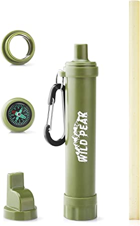 Multifunctional Outdoor Water Filter Straw Water Filtration Purifier with Compass Whistle Signal Mirror Carabiner for Outdoor Emergency Preparedness Camping