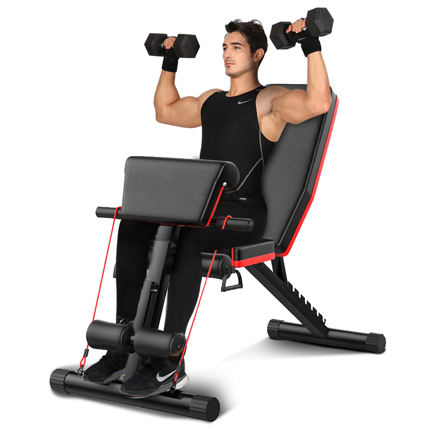 Details about  /7LVL Adjustable Weight Abdominal Bench Sit-up Fitness Flat Gym Exercise Dumbbell