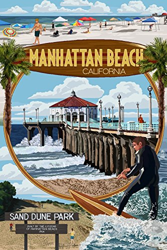 Manhattan Beach, California - Montage Scenes (9x12 Art Print, Wall Decor Travel - Beach Manhattan California Usa